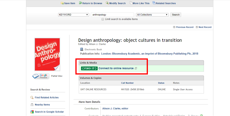 Alt tag: Screenshot of e-book access from UNT Libraries catalogue.