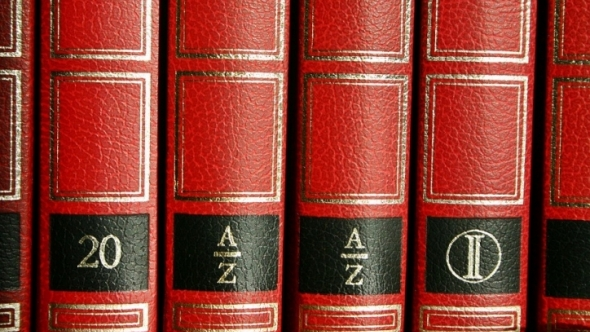 A photo of a set of red encyclopedias.